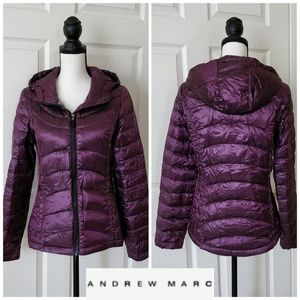 Andrew Marc packable hooded down jacket sz S